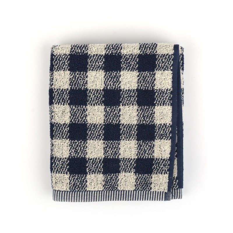 Handdoek Check Dark Blue