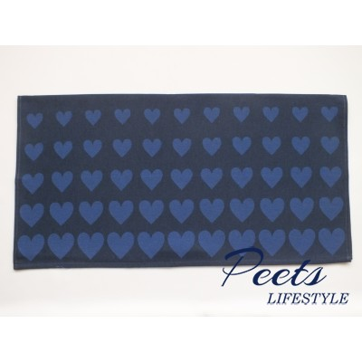 Theedoek Hearts Dark Blue