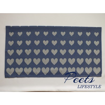 Theedoek Hearts Royal Blue