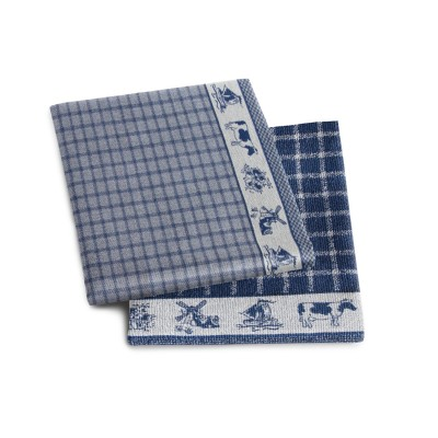 Set Handdoek + Theedoek Dutchie Blue