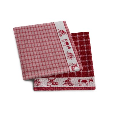 Set Handdoek + Theedoek Dutchie Red